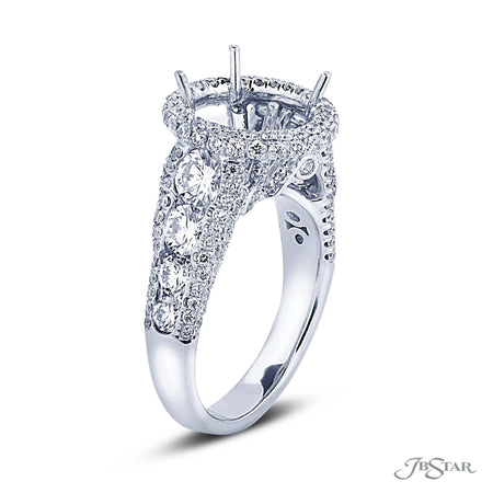 Micro Pave Diamond Semi-Mount Engagement Ring Setting | 2248-003 | Platinum Side View