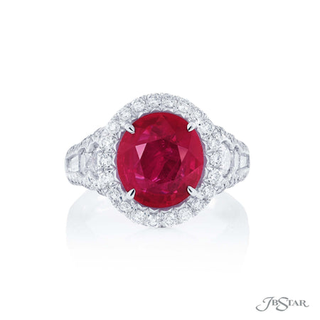 Dazzling ruby and diamond ring featuring a 4.01 ct. certified Burma oval ruby accompanied by round diamonds and tapered baguette diamonds in a micro pave setting. Handcrafted in pure platinum. [details] Center Stone(s) SHAPE TYPE WEIGHT Oval Burma Ruby 4.01 ct. Notes: GRS Stone Information SHAPE TYPE WEIGHT Round Diamond 1.66 ctw. Tapered Baguette Diamond 0.24 ctw. [enddetails] | JB Star 2252-005 Precious Color Rings