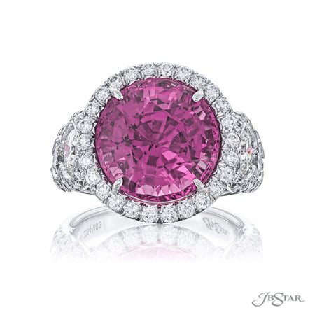 Dazzling pink spinel and diamond ring featuring a 9.04 ct. certified