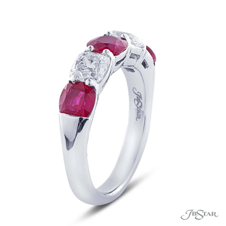 Stunning ruby and diamond wedding band featuring 3 cushion rubies and 2 cushion diamonds in an alternating shared prong design. Handcrafted in pure platinum. [details] Stone Information SHAPE TYPE WEIGHT Cushion Cushion Ruby Diamond 1.81 ctw. 1.07 ctw. [enddetails] | JB Star 2266-013 Anniversary & Wedding