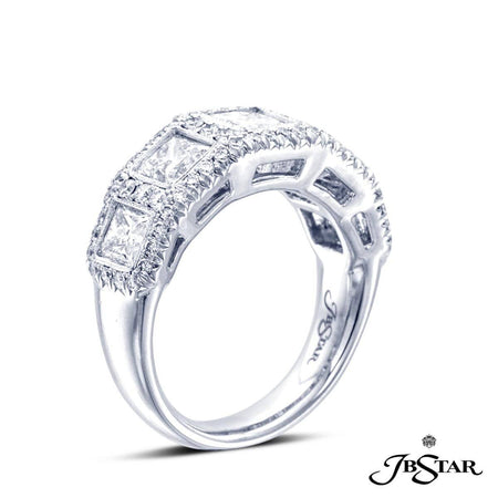 Platinum diamond band handcrafted with 5 perfectly matched, princess-cut diamonds in a bezel setting, each encircled with diamond pave. [details] Center Stone(s) SHAPE TYPE WEIGHT Princess Round Diamond Diamond 2.38 ct. 0.52 ct. [enddetails] | JB Star 2282-007 Anniversary & Wedding