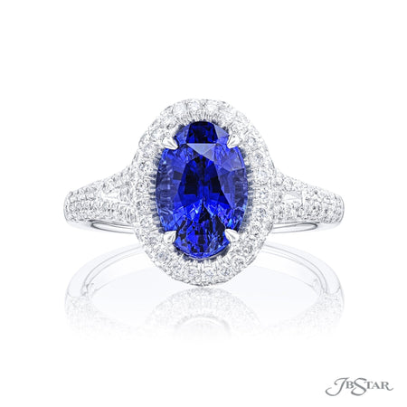 Sapphire & Diamond Ring 2.21 ct. Oval Cut Micro Pave Front View