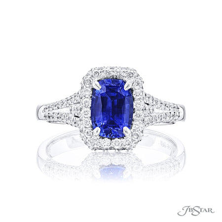 2290-022 | Sapphire & Diamond Ring 1.18 ct Emerald Cut Micro Pave Front View