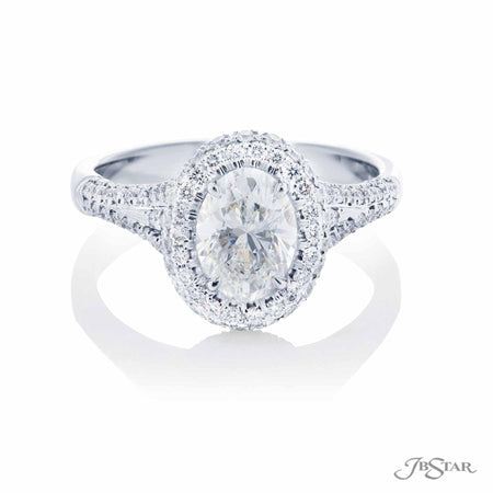 1.12 ct Platinum Oval Diamond Micro Pave Engagement Ring