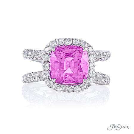 Dazzling pink sapphire and diamond ring featuring a 4.26 ct. certified cushion cut center surrounded in micro pave with a split pave shank. Handcrafted in pure platinum. [details] Center Stone(s) SHAPE TYPE WEIGHT Cushion Pink Sapphire 4.26 ct. Notes: AGT Stone Information SHAPE TYPE WEIGHT Round Diamond 1.58 ctw. [enddetails] | JB Star 2293-003 Precious Color Rings