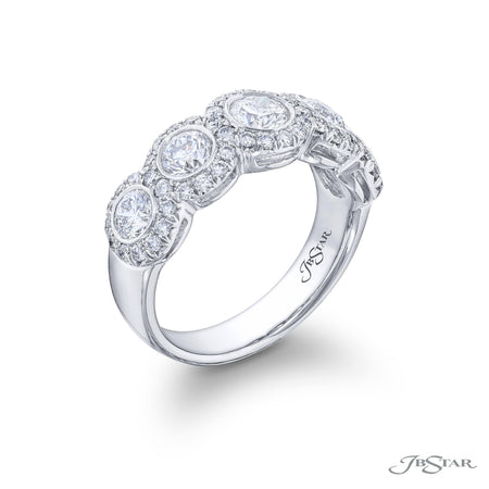 Dazzling diamond wedding band featuring 5 round diamonds bezel set in a micro pave setting. Handcrafted in pure platinum. [details] Stone Information SHAPE TYPE WEIGHT Round Diamond 2.00 ctw. [enddetails] | JB Star 2309-043 Anniversary & Wedding