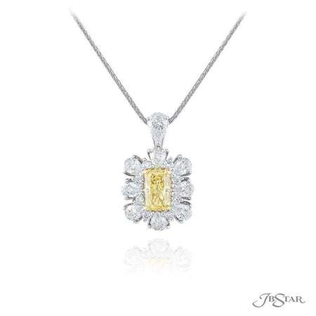 Stunning fancy yellow diamond pendant featuring a 1.42 ct. GIA certified radiant-cut fancy yellow diamond encircled by pear shaped diamonds. Handcrafted in pure platinum. [details] Center Stone(s) SHAPE TYPE WEIGHT COLOR CLARITY Radiant Diamond 1.42 ct. Fancy Yellow VS1 Notes: GIA Stone Information SHAPE TYPE WEIGHT Pear Diamond 2.14 ctw. [enddetails] | JB Star 2327-001 Pendants
