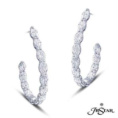 Beautiful diamond hoop earrings featuring 22 oval diamonds in a shared prong setting. Handcrafted in platinum. [details] Center Stone(s) SHAPE TYPE WEIGHT Oval Cut Diamond 7.01 ct. [enddetails] | JB Star 2339-002 Earrings
