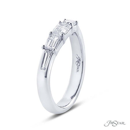 Stunning diamond wedding band featuring emerald cut and tapered baguette diamonds in a shared prong setting. Handcrafted in pure platinum. [details] Stone Information SHAPE TYPE WEIGHT Emerald Tapered Baguette Diamond Diamond 0.87 ctw. 0.23 ctw. [enddetails] | JB Star 2347-031 Anniversary & Wedding