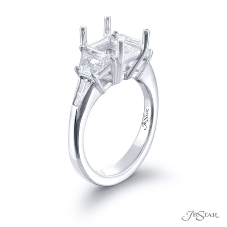 2347-016 | Diamond Semi Mount Ring Trapezoid & Tapered Baguette Side View