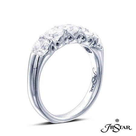 Platinum diamond wedding band handcrafted with 5 perfectly matched radiant diamonds in a trestle design shared-prong setting. [details] Stone Information SHAPE TYPE WEIGHT Radiant Diamond 1.98 ctw. [enddetails] | JB Star 2349-002 Anniversary & Wedding