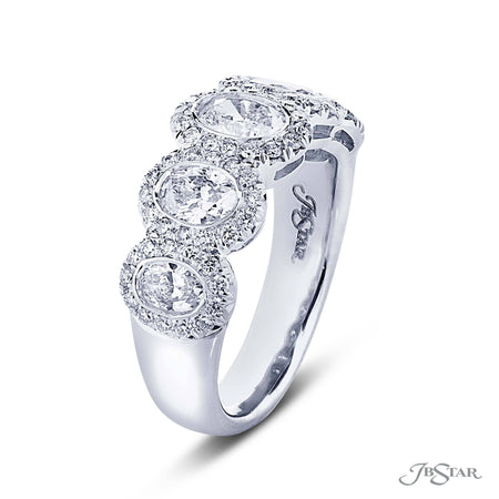 Dazzling diamond wedding band featuring 5 oval diamonds in a gorgeous micro pave bezel setting. Handcrafted in pure platinum. [details] Stone Information SHAPE TYPE WEIGHT Oval Diamond 1.36 ctw. Round Diamond 0.45 ctw. [enddetails] | JB Star 2363-006 Anniversary & Wedding