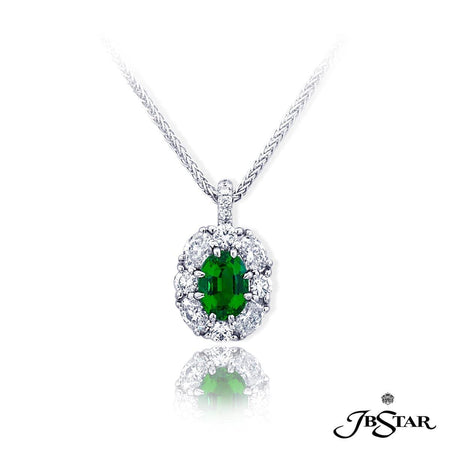 Classically styled pendant features a 1.21 ct. oval emerald center, embraced by perfectly matched oval and round diamonds, hung by round diamond pave. Handcrafted in pure platinum. [details] Center Stone(s) SHAPE TYPE WEIGHT Oval Emerald 1.21 ct. Stone Information SHAPE TYPE WEIGHT Oval Round Diamond Diamond 0.67 ctw. 0.33 ctw. [enddetails] | JB Star 2366-003 Pendants
