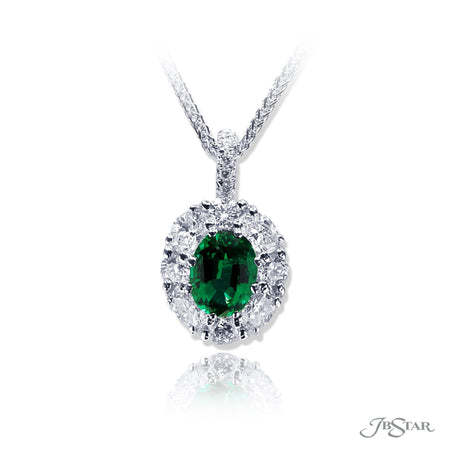 Lovely emerald and diamond pendant featuring a 1.31 ct. oval emerald surrounded by round and oval diamonds. Handcrafted in pure platinum. [details] Center Stone(s) SHAPE TYPE WEIGHT Oval Emerald 1.31 ct. Stone Information SHAPE TYPE WEIGHT Oval Round Diamond Diamond 0.67 ctw. 0.45 ctw. [enddetails] | JB Star 2366-005 Pendants