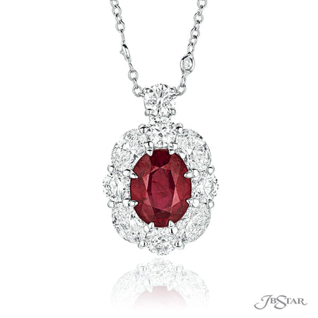 Lovely ruby and diamond pendant featuring a 2.98 ct. oval Burma ruby surrounded by round and oval diamonds. Handcrafted in pure platinum. [details] Center Stone(s) SHAPE TYPE WEIGHT Oval Ruby 2.98 ct. Stone Information SHAPE TYPE WEIGHT Oval Round Diamond Diamond 1.30 ctw. 1.20 ctw. [enddetails] | JB Star 2366-009 Pendants