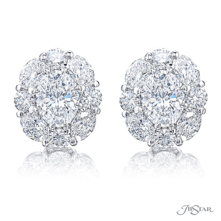 2366-012 | Diamond Stud Earrings Oval & Round 1.40 ctw. GIA certified