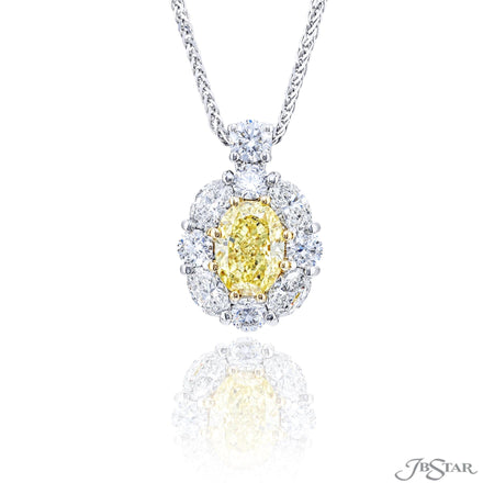 2366-018 | Fancy Yellow Diamond Pendant Oval Cut GIA certified