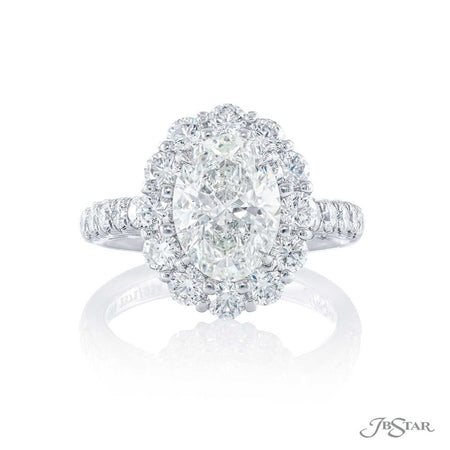 2.05 ct Platinum Oval Round Diamond Engagement Ring with round diamond halo 2371-034