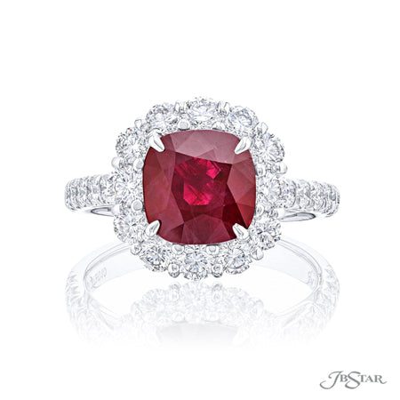 2379-010 | Burmese Ruby & Diamond Ring 2.44 ct. CDC certified Oval Cut Front View