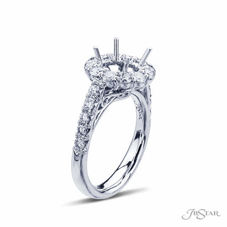 Platinum Micro Pave Halo Diamond Semi Mount Engagement Ring, 2381-007 | JB Star Side view