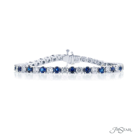 Dazzling diamond and sapphire bracelet featuring 23 round sapphires and 23 round diamonds in a beautiful prong setting. Handcrafted in pure platinum. [details] Stone Information SHAPE TYPE WEIGHT Round Round Sapphire Diamond 5.50 ctw. 4.20 ctw. [enddetails] | JB Star 2383-004 Bracelets