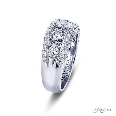 Beautiful diamond wedding band featuring trapezoid and round diamonds in a center channel and round diamond micro pave. Handcrafted in pure platinum. [details] Stone Information SHAPE TYPE WEIGHT Round Diamond 2.04 ctw. Trapezoid Diamond 0.51 ctw. [enddetails] | JB Star 2398-025 Anniversary & Wedding