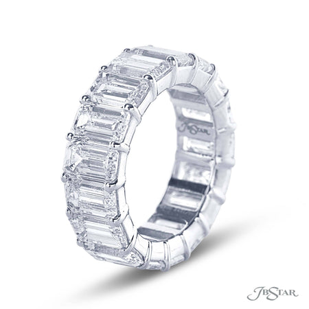 Eternity Band | 17 Emerald Cut Diamonds in Platinum, 2421-002 side view