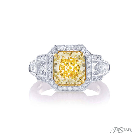 2.75 Platinum Yellow Radiant Cut Diamond Engagement Ring