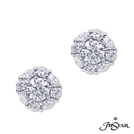 Gorgeous diamond stud earrings featuring round diamonds encircled by round and marquise diamonds in an alternating design. Handcrafted in platinum. [details] Center Stone(s) SHAPE TYPE WEIGHT COLOR CLARITY Round Round Diamond Diamond 0.70 ct. 0.70 ct. G G SI1 SI1 Stone Information SHAPE TYPE WEIGHT Marquise Round Diamond Diamond 0.56 ct. 0.60 ct. [enddetails] | JB Star 2438-008 Earrings