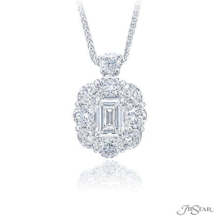 Elegant designed platinum and diamond pendant features a dazzling 1.13 ct GIA certified emerald cut diamond center and is embraced with round and oval diamonds. [details] Center Stone(s) SHAPE TYPE WEIGHT COLOR CLARITY Emerald Diamond 1.13 ct. G VS2 Notes: GIA Stone Information SHAPE TYPE WEIGHT Oval Round Diamond Diamond 0.74 ctw. 1.23 ctw. [enddetails] | JB Star 2438-015 Pendants