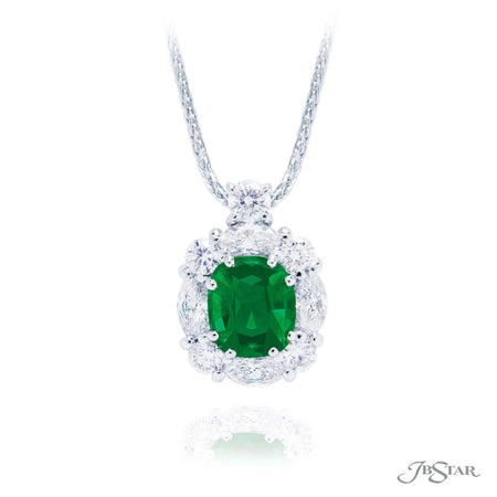 Gorgeous emerald and diamond pendant featuring a 1.41 ct. oval emerald center encircled by marquise and round diamonds. Handcrafted in pure platinum. [details] Center Stone(s) SHAPE TYPE WEIGHT Oval Emerald 1.41 ct. Stone Information SHAPE TYPE WEIGHT Marquise Diamond 0.63 ctw. Round Diamond 0.45 ctw. [enddetails] | JB Star 2438-016 Pendants