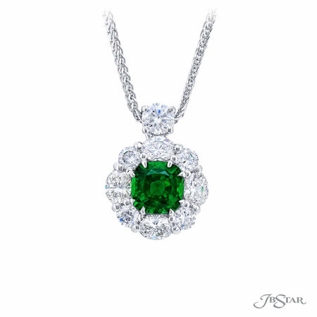 2438-020 | Emerald & Diamond Pendant Cushion-Cut Emerald 1.20 ct.