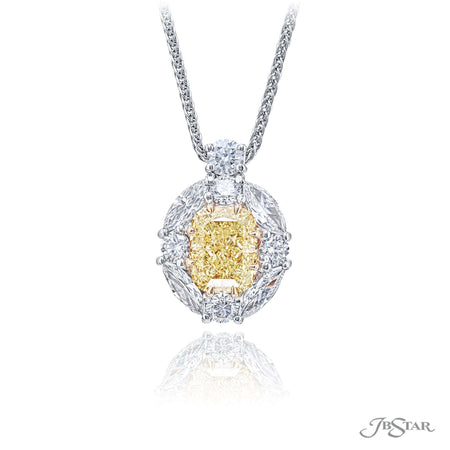 Stunning fancy yellow diamond pendant featuring a 2.55 ct. GIA certified cushion cut fancy yellow diamond center encircled by marquise diamonds and hung by a round diamond. Handcrafted in platinum and 18KY gold. [details] Center Stone(s) SHAPE TYPE WEIGHT COLOR CLARITY Cushion Diamond 2.55 ct. Fancy Yellow SV2 Notes: GIA Stone Information SHAPE TYPE WEIGHT Marquise Diamond 0.77 ctw. Round Diamond 0.73 ctw. [enddetails] | JB Star 2439-001 Pendants