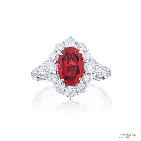 Dazzling ruby and diamond ring featuring a 1.91 ct. certified oval