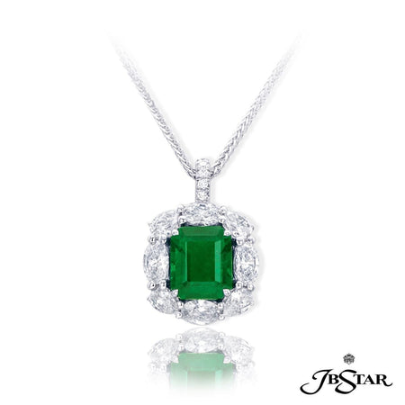 Beautiful emerald and diamond pendant featuring a 2.48 ct emerald-cut emerald embraced with round, marquise and pear-shape diamonds. Handcrafted in pure platinum. [details] Center Stone(s) SHAPE TYPE WEIGHT Emerald Emerald 2.48 ct. Stone Information SHAPE TYPE WEIGHT Marquise Pear Round Diamond Diamond Diamond 1.00 ctw. 0.55 ctw. 0.05 ctw. [enddetails] | JB Star 2447-001 Pendants