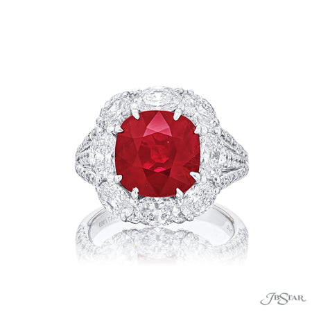Stunning ruby and diamond ring featuring a gorgeous 4.24 ct. certified Burma cushion-cut ruby encircled by oval diamonds in a shared prong setting with micro pave on the shank. Handcrafted in platinum. [details] Center Stone(s) SHAPE TYPE WEIGHT Cushion Ruby 4.24 ct. Stone Information SHAPE TYPE WEIGHT Oval Round Diamond Diamond 2.25 ctw. 0.52 ctw. [enddetails] | JB Star 2447-003 Diamond Centers & Engagement