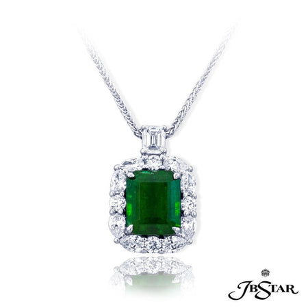 Meticulously handcrafted emerald pendant featuring a beautiful 3.75 ct. emerald cut emerald encircled by pear-shape and round diamonds hung by a emerald cut diamond. [details] Center Stone(s) SHAPE TYPE WEIGHT Emerald Emerald 3.75 ct. Stone Information SHAPE TYPE WEIGHT Pear Round Emerald Diamond Diamond Diamond 0.91 ctw. 0.32 ctw. 0.31 ctw. [enddetails] | JB Star 2467-002 Pendants