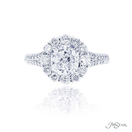 1.61 ct Platinum Cushion Cut Diamond Engagement Ring encircled in round diamonds| 2468-038