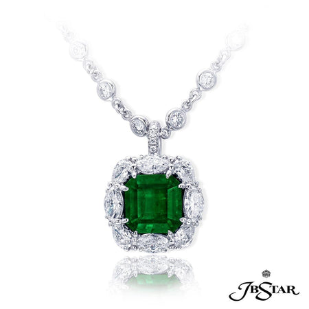 A beautiful emerald and diamond pendant featuring a 4.79 ct. emerald cut emerald embraced by marquise and pear-shape diamonds. Handcrafted in platinum. [details] Center Stone(s) SHAPE TYPE WEIGHT Emerald Emerald 4.79 ct. Stone Information SHAPE TYPE WEIGHT Marquise Pear Round Diamond Diamond Diamond 1.27 ctw. 0.76 ctw. 0.03 ctw. [enddetails] | JB Star 2472-003 Pendants