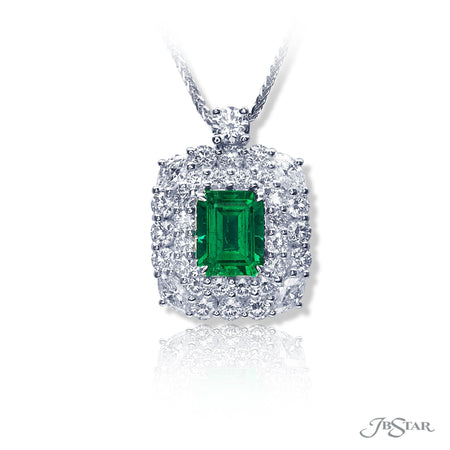 Gorgeous emerald and diamond pendant featuring a 1.85 ct. emerald-cut emerald encircled by beautiful round and marquise diamonds. Handcrafted in pure platinum. [details] Center Stone(s) SHAPE TYPE WEIGHT Emerald Emerald 1.85 ct. Stone Information SHAPE TYPE WEIGHT Round Marquise Diamond Diamond 1.96 ctw. 0.69 ctw. [enddetails] | JB Star 2473-008 Pendants