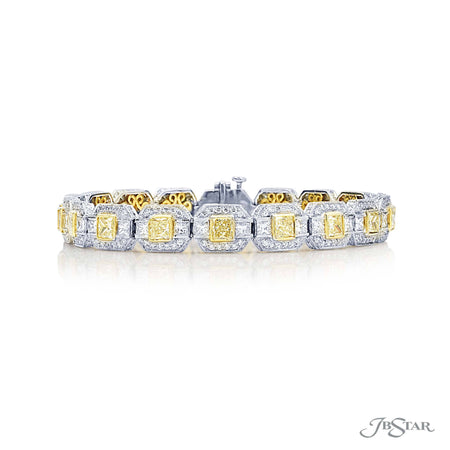 Dazzling fancy yellow diamond bracelet featuring fancy yellow princess cut diamonds surrounded by micro pave and linked together by princess cut diamonds. Handcrafted in pure platinum and 18KY gold. [details] Stone Information SHAPE TYPE WEIGHT Princess Fancy Yellow Diamond 4.88 ctw. Princess Diamond 3.22 ctw. Round Diamond 3.58 ctw. [enddetails] | JB Star 2501-004 Bracelets