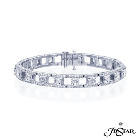Stunning diamond bracelet uniquely designed with 20 perfectly matched square-emerald-cut diamonds set in a track of round diamonds. [details] Stone Information SHAPE TYPE WEIGHT Square Emerald Diamond 10.49 ctw. Round Diamond 2.86 ctw. [enddetails] | JB Star 2539-001 Bracelets