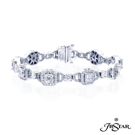 Dazzling diamond bracelet featuring square-emerald diamonds exquisitely linked together with round diamond pave. Handcrafted in pure platinum. [details] Stone Information SHAPE TYPE WEIGHT Square Emerald Diamond 10.16 ctw. Round Diamond 1.95 ctw. [enddetails] | JB Star 2568-001 Bracelets