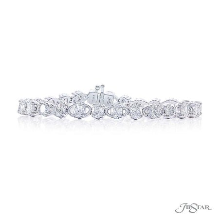 Gorgeous diamond bracelet featuring 28 oval diamonds in a shared prong setting. Handcrafted in pure platinum. [details] Stone Information SHAPE TYPE WEIGHT Oval Diamond 8.42 ctw. [enddetails] | JB Star 2579-001 Bracelets