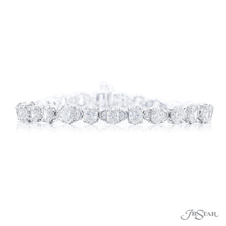 2579-001 | Round & Oval Diamond Bracelet Shared Prong Setting Front View