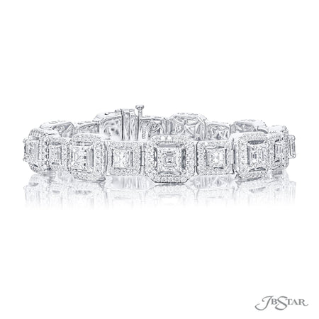 Beautiful diamond bracelet handcrafted with perfectly matched square emerald-cut diamonds set in platinum micro pave setting. [details] Stone Information SHAPE TYPE WEIGHT Square Emerald Diamond 9.80 ctw. Round Diamond 2.97 ctw. [enddetails] | JB Star 2580-001 Bracelets