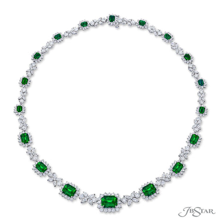 Beautiful emerald and diamond necklace featuring 18.59 ctw. emerald-cut emeralds encircled by round and marquise diamonds in a stunning design. Handcrafted in pure platinum. [details] Center Stone(s) SHAPE TYPE WEIGHT Emerald Emerald 18.59 ctw. Stone Information SHAPE TYPE WEIGHT Round Diamond 9.57 ctw. Marquise Diamond 6.46 ctw. [enddetails] | JB Star 2587-001 Necklaces