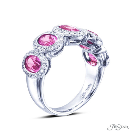 Platinum pink sapphire wedding band beautifully handcrafted with 5 oval pink sapphires, each bezel set and encircled by pave diamonds. [details] Stone Information SHAPE TYPE WEIGHT Oval Round Pink Sapphire Diamond 3.58 ctw. 0.44 ctw. [enddetails] | JB Star 2589-002 Anniversary & Wedding
