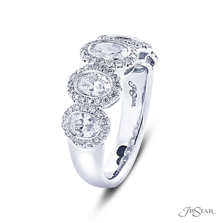 Dazzling diamond wedding band featuring 5 oval diamonds in a micro pave bezel-setting. Handcrafted in pure platinum. [details] Stone Information SHAPE TYPE WEIGHT Oval Diamond 1.40 ctw. Round Diamond 0.40 ctw. [enddetails] | JB Star 2599-018 Anniversary & Wedding