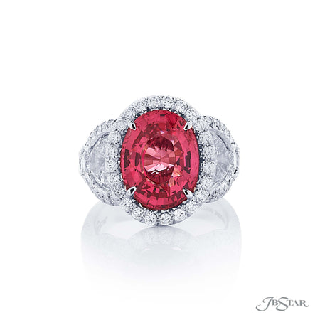 Beautiful pink spinel and diamond ring featuring a stunning 5.13 ct.